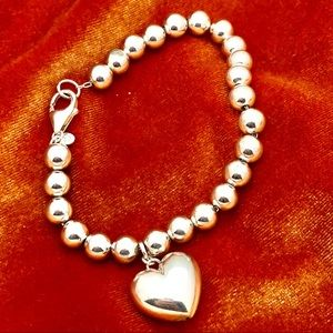 Vintage Silver Bead Bracelet with Heart